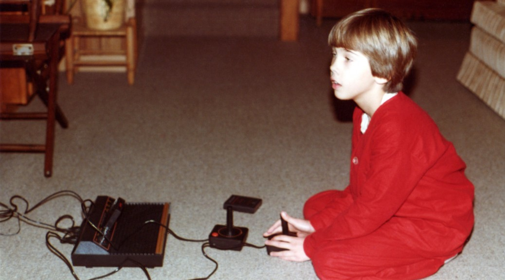 Playing my new Atari 2600 on Christmas morning, 1980.